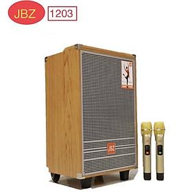 Loa karaoke di động JBZ 1203 hát karaoke cực hay, kèm 2 micro nhôm UHF không dây - Hàng Nhập Khẩu