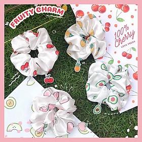 Cột tóc Scrunchies charm trái cây