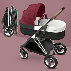 Xe đẩy nôi em bé 2 chiều gấp gọn siêu nhẹ chỉ 7kg, với đệm bông siêu êm, tay cầm bằng da bánh xe siêu to mẫu 2020 tặng kèm quà chiếu, mùng, dây chống tuột, màn che nắng,nệm