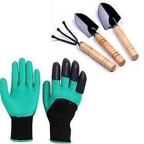 Bộ dụng cụ làm vườn chuyên dụng ( Găng tay làm vườn móng vuốt và 3 dụng cụ xẻng làm vườn mini)
