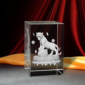 Tượng 3D Con Hổ, Cọp (Dần) - Trang Trí Xe Ô tô/ Bàn Làm Việc - Bằng Pha Lê