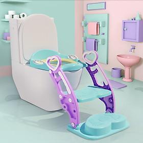Ghế ngồi vệ sinh có cầu thang vịn cho bé , có đệm - bệ ngồi bồn cầu toilet cao cấp D0592