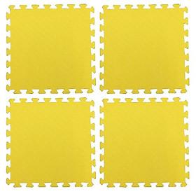 Thảm Xốp Cho Bé Trơn 60cmx60cm Vân Ô Vuông màu vàng
