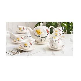 Bộ ấm chén pha trà , làm quà tặng cao cấp trang nhã ( họa tiết ngẫu nhiên)