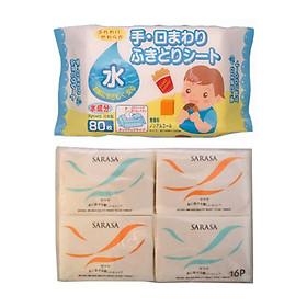 Combo Set 16 Gói Khăn Giấy Bỏ Túi Cao Cấp + Gói 80 Tờ Giấy Khăn Ướt Cho Bé - Nội Địa Nhật Bản