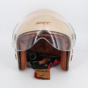 Mũ bảo hiểm 3/4 SRT 368K viền đồng lót nâu cao cấp có thông gió – kính càng – Màu Kem – dành cho người đi phượt