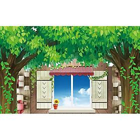 Tranh dán tường cửa sổ phong cảnh 3d 22
