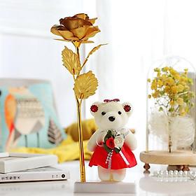 Hình đại diện sản phẩm Hoa Hồng Mạ Vàng 24k Kèm Gấu Bông (Bông Màu Vàng)