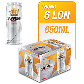 Thùng 6 Lon Bia Sapporo Premium (650ml)