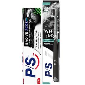 Combo Kem Đánh Răng P/S Than Hoạt Tính & Tre (230g) Và Bàn Chải Đánh Răng P/S Detox Trắng Răng