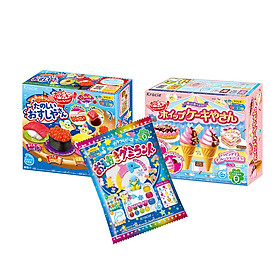 Combo 3 hộp kẹo sáng tạo popin cookin: kem socola + sushi + thế giới sắc màu