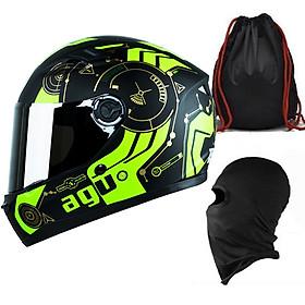 Mũ Bảo Hiểm Đẹp Fullface AGU Tem 43 + Khăn Ninja + Tặng kèm túi đựng nón chống trầy_ Nhiều màu _ Nón Fullface _ Kính trà