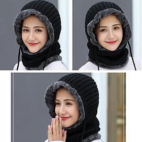 Mũ len liền khăn lót nỉ trùm kín cổ siêu ấm nhiều màu