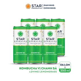 Lốc 6 lon thức uống lên men STAR KOMBUCHA Chanh Sả/ Loving Lemongrass (250ml/lon)