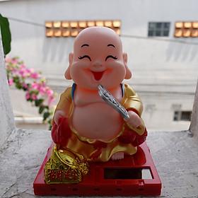 Tượng Phật Di Lạc và chú tiểu gật đầu gõ mõ năng lượng size to- T029B