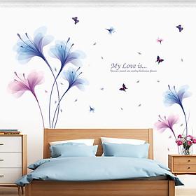 Decal dán tường hoa màu tím My Love is ZOOYOO XL8262