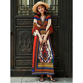 Váy Du Lịch  Thổ Cẩm Cổ V ( V05 )