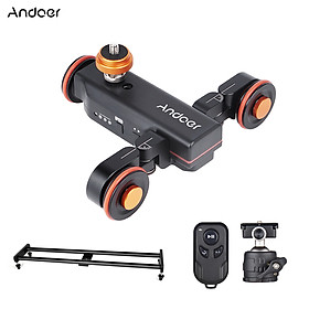 Andoer Camera Video Dolly Slider Kit with 3-wheel Auto Dolly Car 3 Speed Adjustable + 60cm/23.6in Track Rail Camera