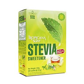 Đường Ăn Kiêng Tropicana Slim Stevia 125gr - Chiết Xuất Từ Lá Cỏ Ngọt Stevia 125g (50 x 2.5g)