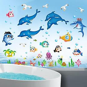 Combo 2 decal dán tường cho bé thế giới cá ngộ nghĩnh