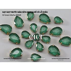 Set 10 hạt Đá giọt nước màu sữa Mocha đế bạc có lỗ khâu Cici Handmade hạt nguyên liệu đính kết thời trang hạt cườm