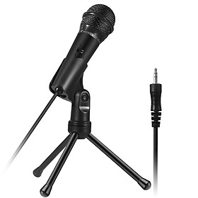 Condenser Microphone 3.5mm Recording Microphone Plug and Play with Tripod Stand for Broadcasting Podcasting Conference