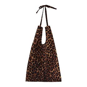 Fashion Women Cotton Leopard Print Bag Ladies Large Capacity Shoulder Handbag Shopping Totes 1#/2#
