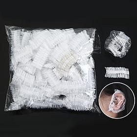 Disposable Salon Transparent Ear Cover Ear Protection Hair Dye Protect Cap 100Pcs