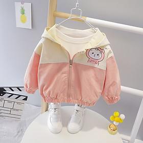 Áo khoác bé gái dễ thương, chất thô dày dặn mềm ấm, mũ tai mèo cute, phù hợp Thu Đông   MP19