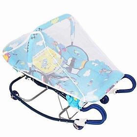 Nôi nhún cho bé sơ sinh nằm chịu lực 30 kg ( có màn che ) - Tặng 01 bộ thú bông treo nôi