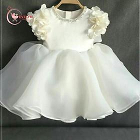 Đầm bé gái trắng kem đính hoa quanh cổ tay cho bé từ 1 đến 12 tuổI