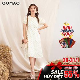 Đầm váy nữ  DA1075 GUMAC thiết kế  hoa đô nhún