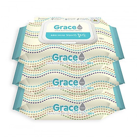 Bộ 3 gói khăn giấy ướt Hàn Quốc Living Grace - loại 100 tờ/gói