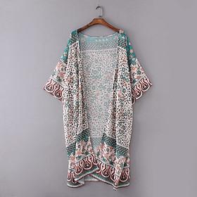 Áo Khoác Voan Nữ Dáng Kimono In Hoa Đi Biển