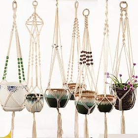 Gardening Flowerpot Net Bag Plant Green Hanging Basket Hanger Cotton Hemp Rope