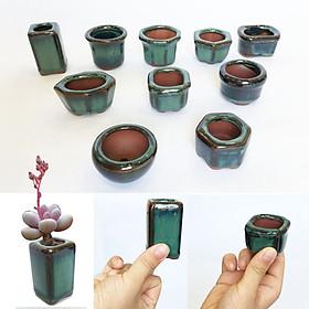 Set 10 mẫu chậu trồng bonsai, sen đá mini men hỏa biến có lỗ [Size M3-5xC3.5-5cm] Chậu gốm sứ Bát Tràng