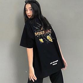 �o thun tay lỡ nữ freesize phông form rộng dáng Unisex - Ulzzang mặc cặp, nhóm, lớp in chữ MISSOUT VENUS màu đen