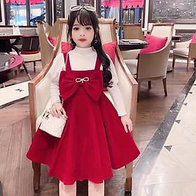 Sét Váy Nơ Đỏ Kèm Áo tay Bồng Siêu Sinh Cho Bé Gái