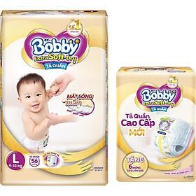 Tã Quần Bobby Extra Soft Dry L56 [Tặng 6 Miếng Tã Quần size L]