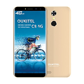 OUKITEL C8 4G Mobile Phone 18:9 5.5 Inch HD Display With LTPS Tech MT6737 Quad-core 1.3GHz Rear Camera 13MP Front Camera