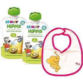 Combo 2 Trái Cây Nghiền Hữu Cơ HiPPiS Organic Kiwi, Lê, Chuối - 8527 (100g) Tặng Kèm 1 Yếm Ăn Dặm HiPP