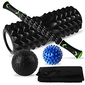 Bộ dụng cụ massage giãn cơ trong tập luyện gồm thanh lăn, bóng xốp bọt biển và bóng massage mô cơ
