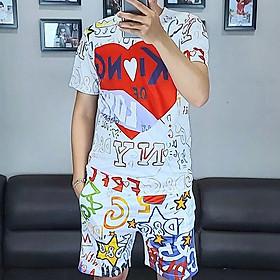 Bộ quần áo nam vải thun,bộ thể thao,bộ mặc nhà nam in họa tiết 3D-06