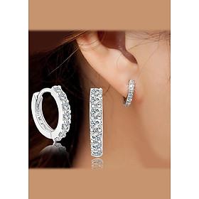 Bông tai bạc 925 nạm đá pha lê