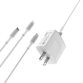 Bộ Cóc Cáp Sạc BA3 Borofone 3 in 1 - 2 Cổng USB chuẩn US - Hàng Chính Hãng