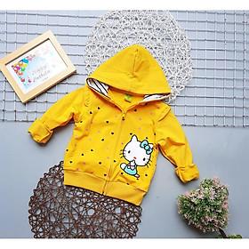 Áo khoác bé gái từ 8-24kg thun da cá dày vừa mặc ấm hay đi nắng in kitty tim rơi - AKG32