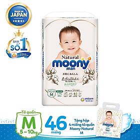 Tã quần Moony Natural M46 tặng hộp 4 miếng tã quần Moony Natural M