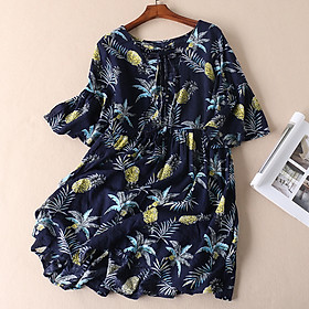 Đầm suông dáng váy hoa lá lanh lụa mềm mát ArcticHunter, thời trang xuân hè 2021