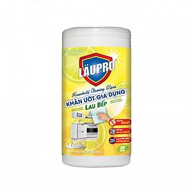 Khăn ướt Kháng khuẩn CHỨA CỒN - Gia dụng Läupro – Lau Bếp - Hộp 80 Khăn (Laupro) - Được Kiểm nghiệm & Chứng nhận!