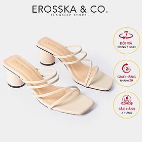 Dép cao gót Erosska thời trang mũi vuông phối dây quai mảnh kiểu dáng đơn giản cao 5cm - EM038